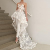 Two Piece Illusion Neck High Low Wedding Jumpsuit 2019 with Lace Appliques Wedding Bridal Gowns Made to Order