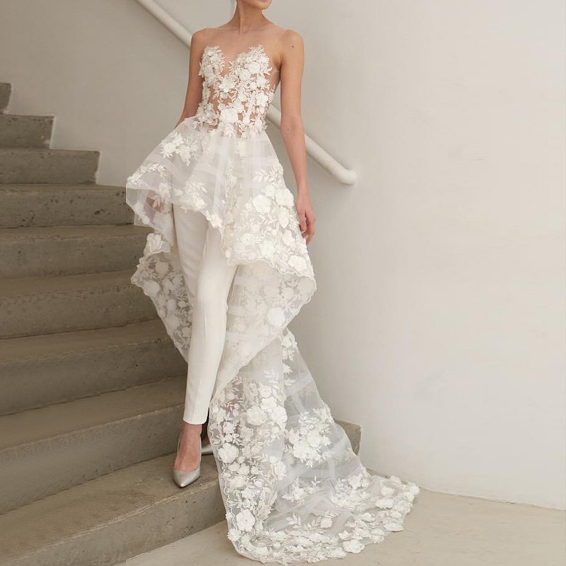 Two Piece Illusion Neck High-Low Wedding Jumpsuit 2019 With Lace Appliques Wedding Bridal Gowns Made-to-Order