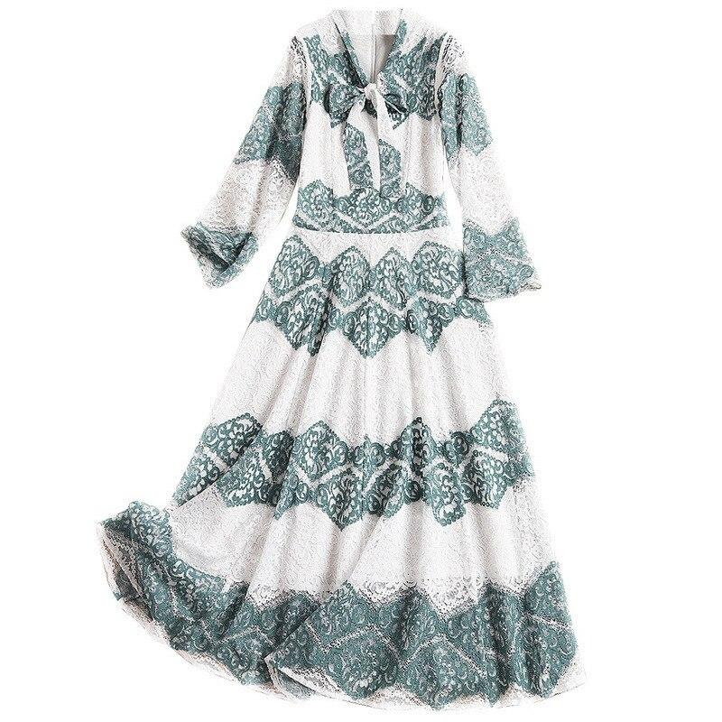 Cheville Robe longueur En Style Femmes Trois Trimestre Longues White Green Manches Shuchan D'été 2019 Cravate 10537 Angleterre Robes Dentelle Nœud And pP7Xqx