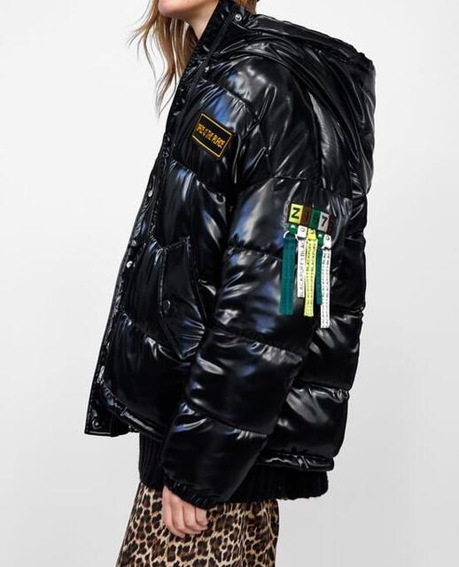 bb3ff3a9 Black VINYL-EFFECT PUFFER JACKET Hooded High Collar Long sleeve With  Colorful Letters Patch FRONT Pockets Woman Warm Parkas Coat