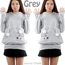 Обниматься ушами балахон случайных кофты кенгуру собак пуловеры pet кошка толстовки