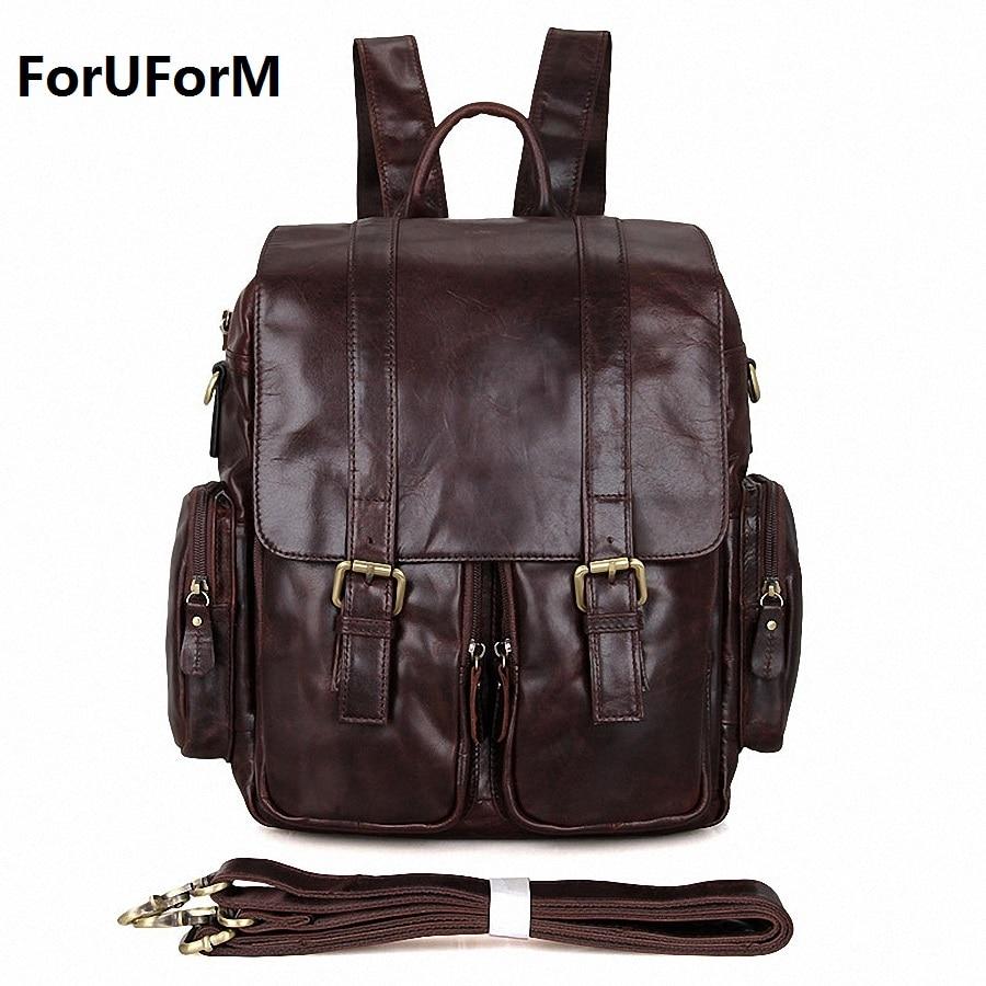 New Fashion Men's Genuine Leather Backpack Men School Backpack Bag Men's Travel Bags Leather Book bag Male backpacks LI-1675 sluban замок мечты 508 дет