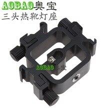 Adearstudio NO00D B Type Hot Shoe Flash Accessories Three Head Lamp Holder Base Metal hot shoe Photo Studio Accessories