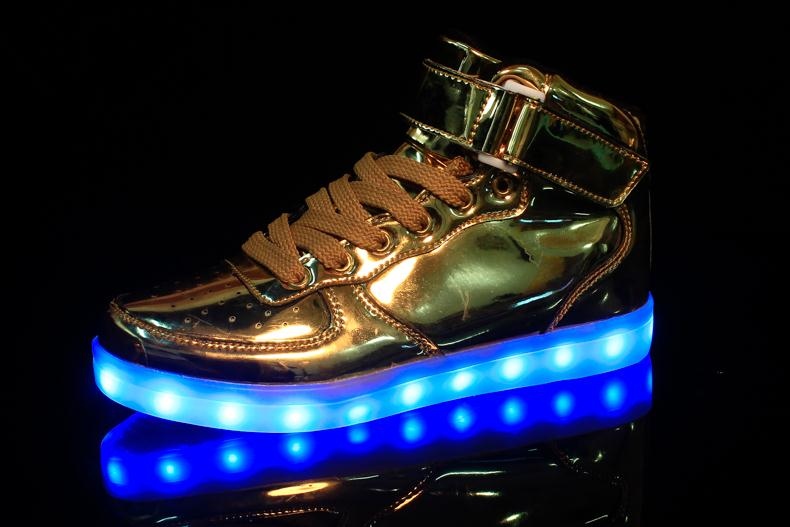 Merkmak Hot Sale Golden Silver Big Size 46 Led Shoes Men Glowing Cool Light  Flat Shoes High top Light up Boots for Adults-in Men s Casual Shoes from  Shoes ... 780d4d5264ff