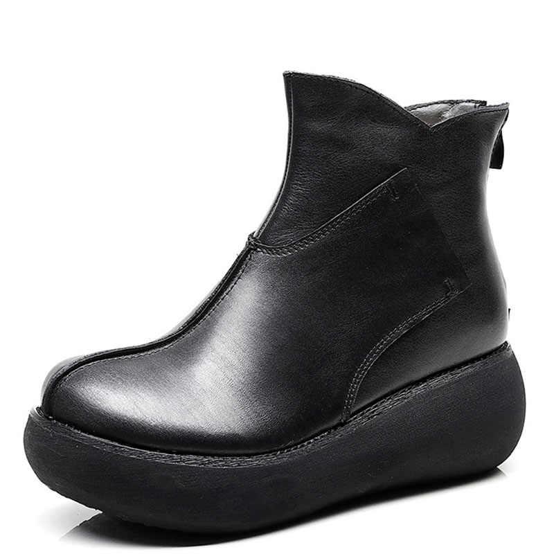 DRKANOL edebi tarzı kadın platformu botları kış sıcak ayak bileği kar botları kaliteli gerçek inek deri kama yüksek topuk çizmeler kadın