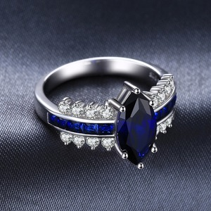 Image 3 - JewelryPalace Luxury Created Blue Sapphire Ring 925 Sterling Silver Rings for Women Engagement Ring Silver 925 Gemstones Jewelry