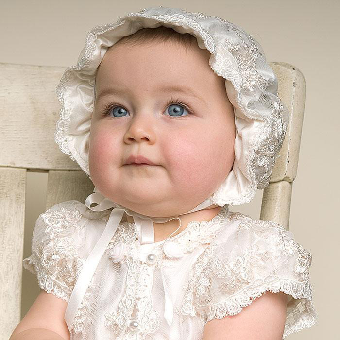 BABY WOW Super Long Lace Baby Girl Christening Gowns with Hat, 1 ...