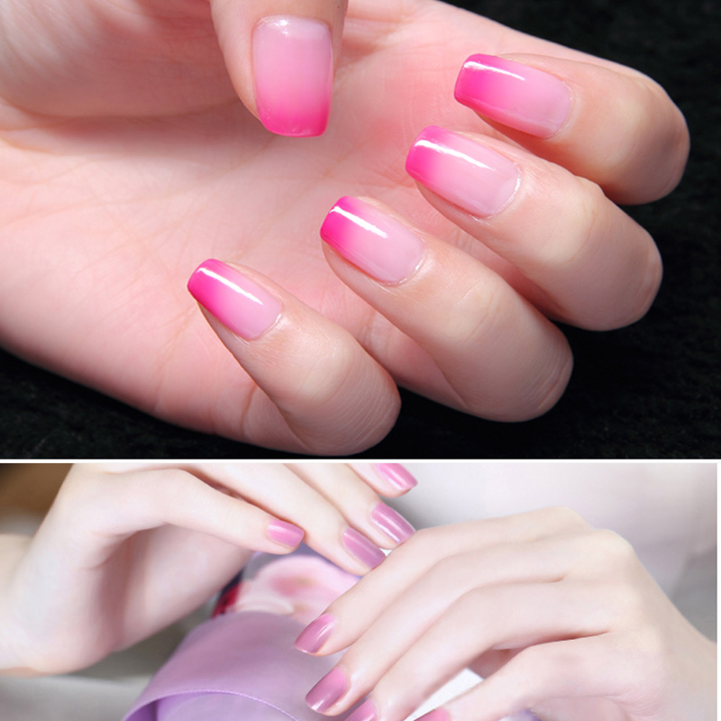Yinikiz Black Bottle Temperature Changing Chameleon Gel Nail Polish Nude Pink Color Varnishes Soak Off Thermo In From Beauty Health On