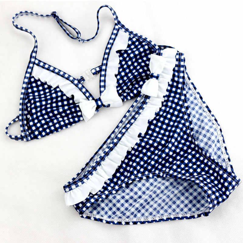 かわいいチェック柄水着 2020 新夏子供分割ツーピースビキニ女の子美しいビキニ子供の水着