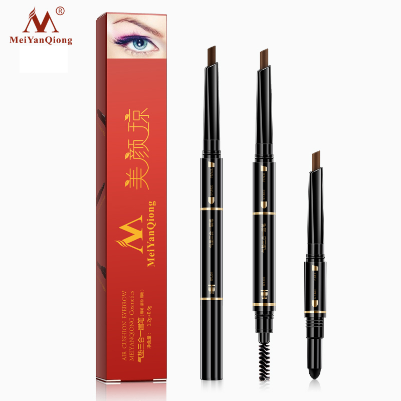 Air Cushion Triad Eyebrow Pencil Waterproof Longlasting Triangle Natural Make Up Eye Brow Liner With Brush Makeup Tools 3in1 go pro accessories fill light led flash light spot lamp for xiaomi yi gopro hero 5 4 session 3 3 2 sjcam sj6000 sj5000 camera