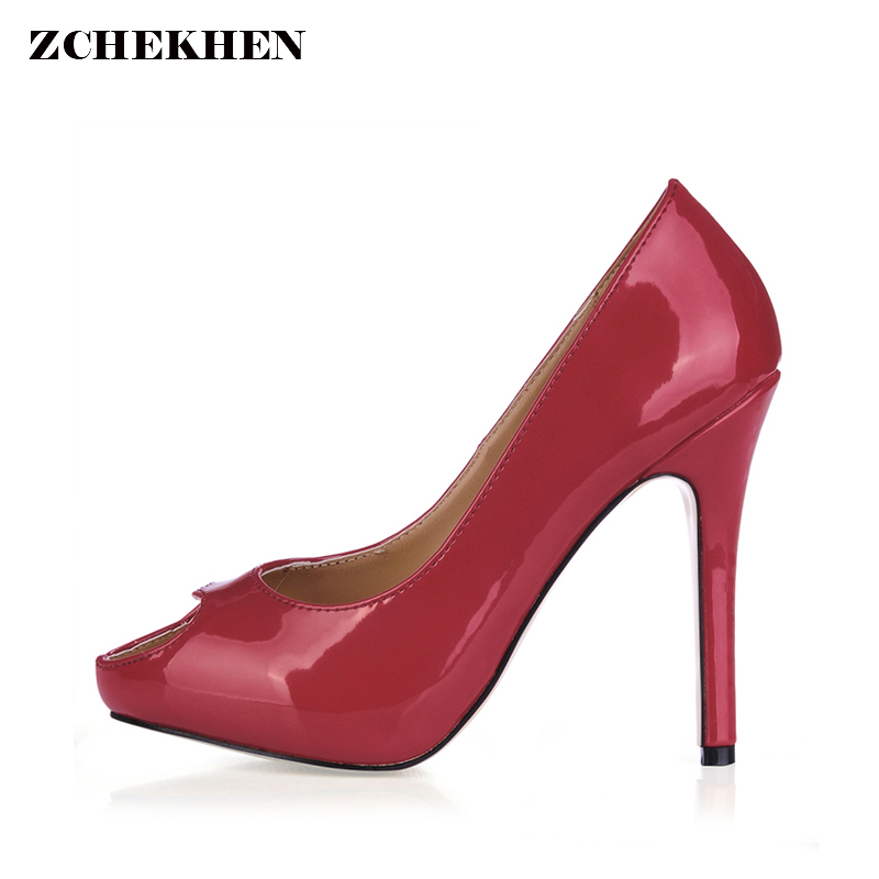 Women Red Pumps Sexy Open Toe Thin High Heels Shallow Mouth Women Shoes Good Quality Party Dress Pumps Size 35-43 burgundy gray saphire blue pink women dress party career work shoes flock shallow mouth stiletto thin high heel pumps