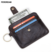 Leather mens and womens card package first layer leather Europe America wallet multi-card buckle
