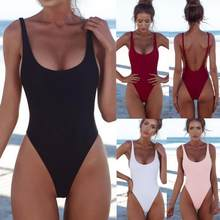 Womail 2018 Sexy solide une pièce maillot de bain noir rose trikini maillots de bain femmes dos nu Bikini monokini Push Up Swiming suit(China)