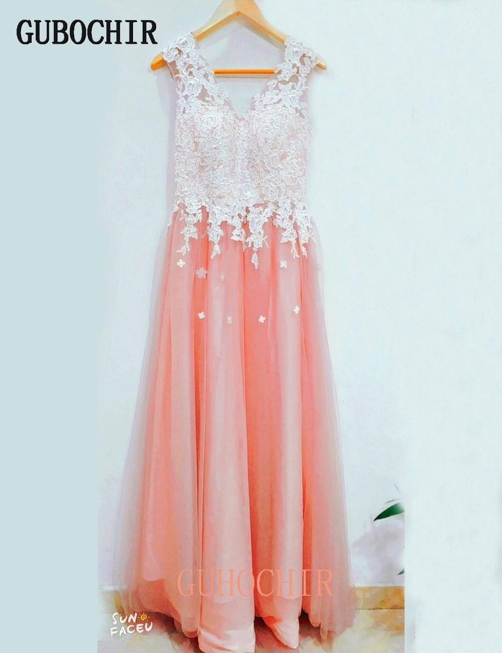 2019 New Style! Scoop Appliques Tulle Illusion Custom-Made Evening Dresses For Women Evening Dresses Online