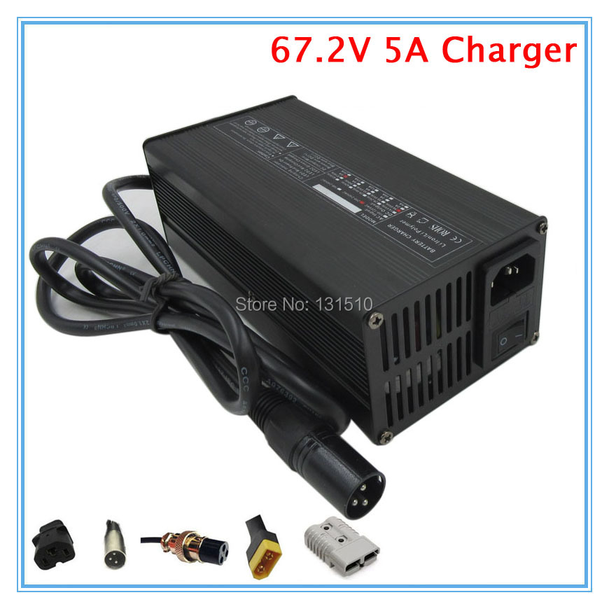 360W 110V / 220V 50 60Hz 67.2V 5A Charger 60V 5A Li ion Charger for 16S 60V lithium battery pack Fast charger Free shipping-in Chargers from Consumer Electronics