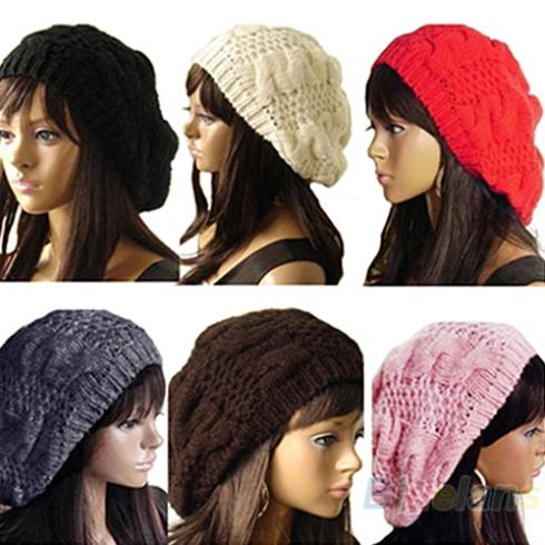 Hot New Fashion Women's Lady Beret Braided Baggy Beanie Crochet Warm Winter Hat  Wool Knitted Cap hot winter beanie knit crochet ski hat plicate baggy oversized slouch unisex cap
