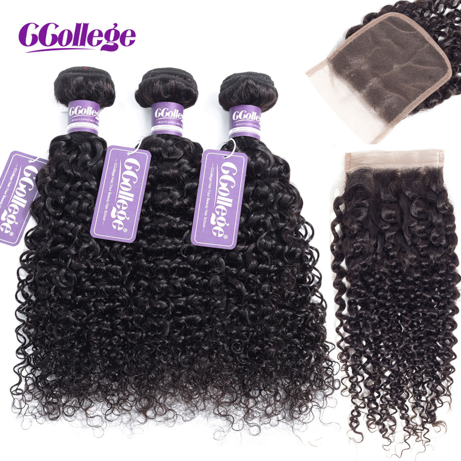 Ccollege Hair Extension Kinky Curly Hair Bundles With Closure Indian Remy Hair Weave Bundles Human Hair