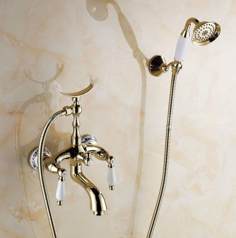 Gold Color Brass Ceramics Base Wall Mounted Clawfoot Bath Tub Faucet Mixer Tap Telephone Style Hand Held Shower Head Set atf415Gold Color Brass Ceramics Base Wall Mounted Clawfoot Bath Tub Faucet Mixer Tap Telephone Style Hand Held Shower Head Set atf415