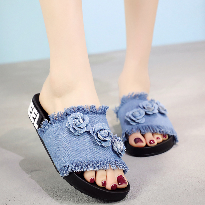 2018 New Summer Canvas Women Slippers Denim Flas Outside Sandals Fashion S