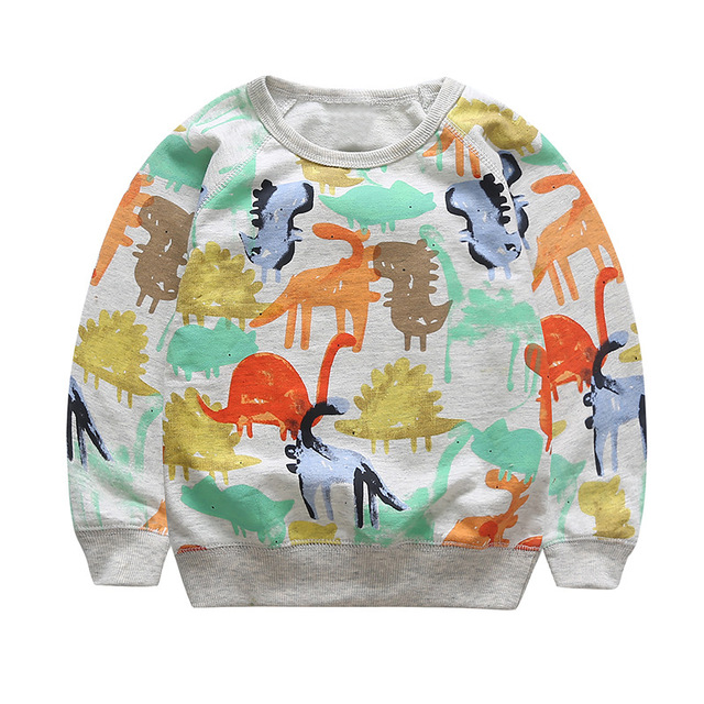Children's Clothing Baby Boys Girls Sweater Autumn Spring Casual Long Sleeve O-neck Dinosaur Print Cartoon Kids Pull-over JJ0083