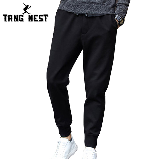 TANGNEST New Arrival 2017 Men's Comfortable Soft Casual Loose Pants Male Solid Color Clothing Fashionable Pants MKY217