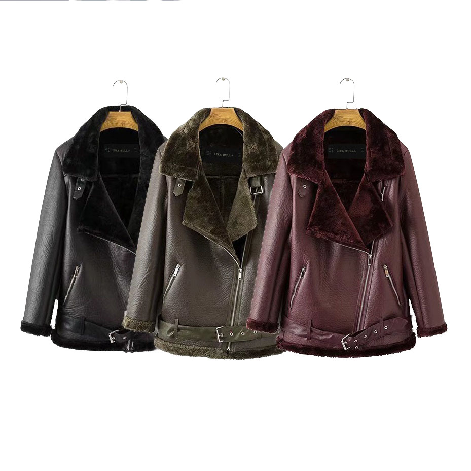 Autumn new European American women Punk Lapel thickened Padded warm PU leather coat