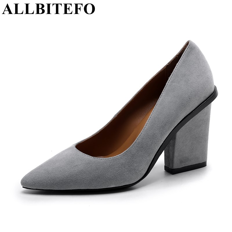 ALLBITEFO sexy fashion pointed toe genuine leather thick heel women pumps high quality office ladies shoes leisure women's shoes  allbitefo fashion sexy thin heels pointed toe women pumps full genuine leather platform office ladies shoes high heel shoes