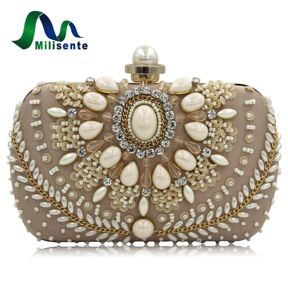Milisente New Fashion Women Evening Bag Pink Beaded Purses With Chain Ladies Party Clutches Female Day Clutch Wedding Purse new women s retro hand beaded evening bag wedding bridal handbag chain shoulder bag stitching sequins diamond stone day clutches