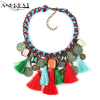 Ethnic Tassel Necklace Pendant Choker Statement Necklace Women Coin Zinc Alloy Designer Boho Jewelry Party Gifts