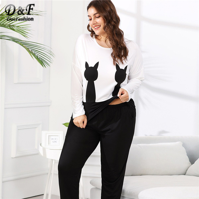 Dotfashion Enjoy Plus Size Beauty Pocket Cat Print Tee   Pants Pajama Sets  Autumn Women Casual Sleepwear Long Sleeve Nightwear f59a9bd65