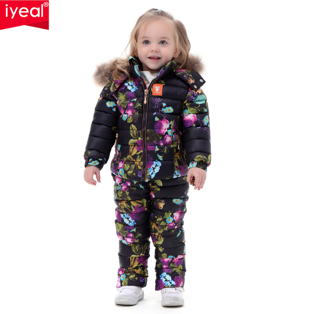 Brand 2016 Winter Children Clothing Set for Girls Flowers Down Cotton Jacket Coat + Overalls  Ski Suit Warm Windproof Snowsuit