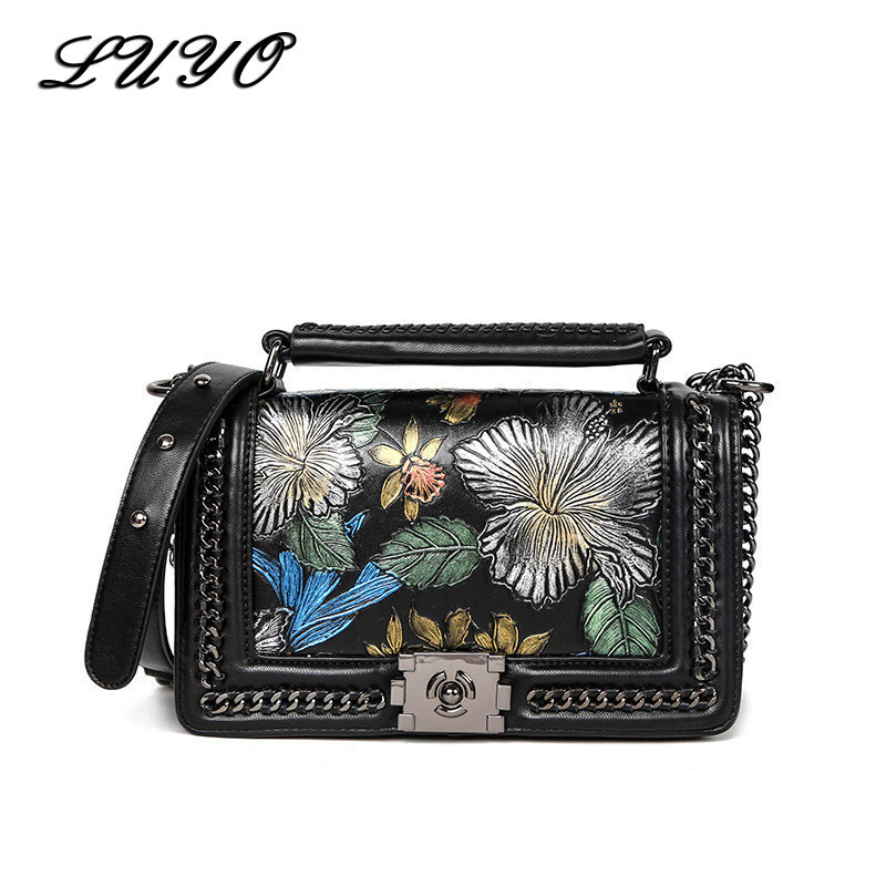 2018 Summer Flower Embroidery Chain Genuine Leather Bag For Female Luxury Handbags Women Bags Designer Girl Shoulder Messenger