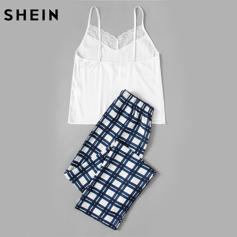 df353a6873 SHEIN Woman Pajamas Set Sleepwear White Spaghetti Strap Sleeveless Lace  Embellished Cami & Plaid Pants Pajama Set-in Pajama Sets from Underwear &  Sleepwears ...