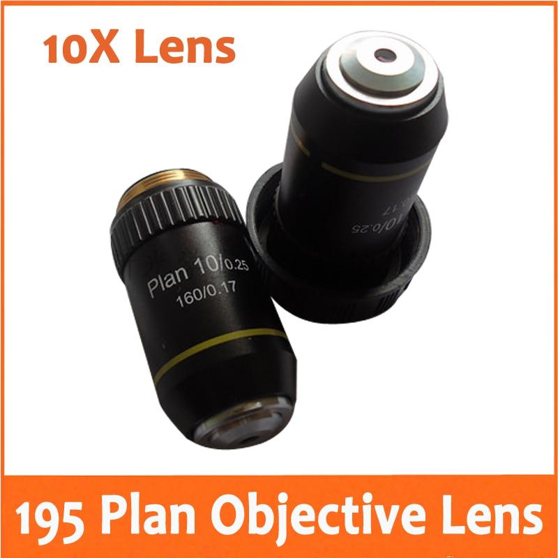 10X L=195 Plan Achromatic Bio Microscope Biological Microscope Objective Lens with Thread Diameter 20.2MM for School Laboratory
