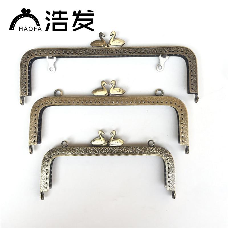 HAOFA10Pcs 15CM 18cm 20cm Metal Purse Frame Kiss Clasp Vintage Craft Workshop DIY Accessories For Bags Clutch Coin Purse Frame