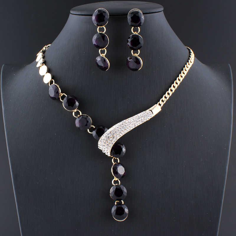Jiayijiaduo Pernikahan Perhiasan Set untuk Wanita Kalung Anting-Anting Set Crystal Parvis Bijoux Femme Kristal Dubai Perhiasan Set