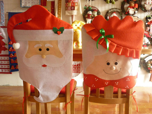 wholesale Mr & Mrs Santa Claus Christmas Kitchen Chair Covers,dinner chairs covers ,Banquet Chair covers