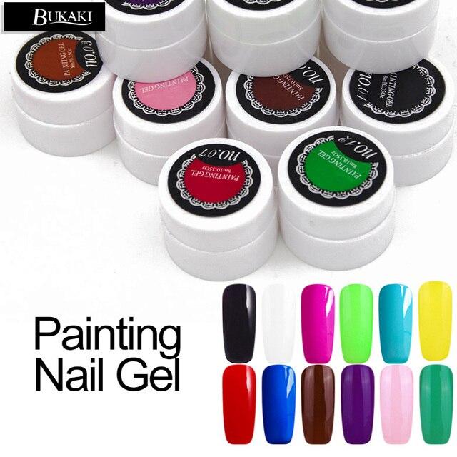 BUKAKI 1pcs UV Gel 3D Painting Polish Nail Art Paint Drawn Glitter ...