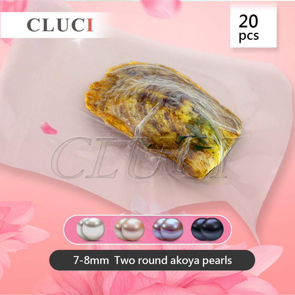 CLUCI free shipping 20pcs 7-8mm Round Twins Akoya Pearls in Oyster White Pink Lavender Black Saltwater Pearl Oysters Gifts oysters indian v black white