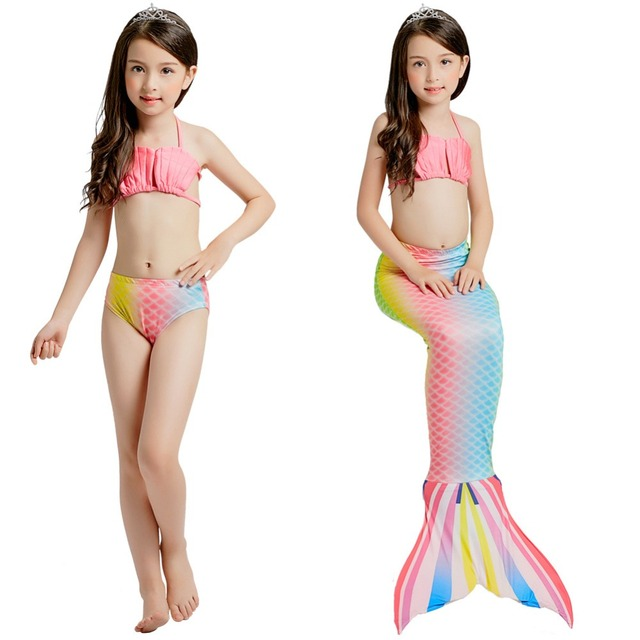 944ab0c109 2018 New Style Cartoon Girl 3PCS Mermaid Tail without Monofin Cosplay  Halloween Dress Swimmable Bikini Set Suit Top+Short+tail