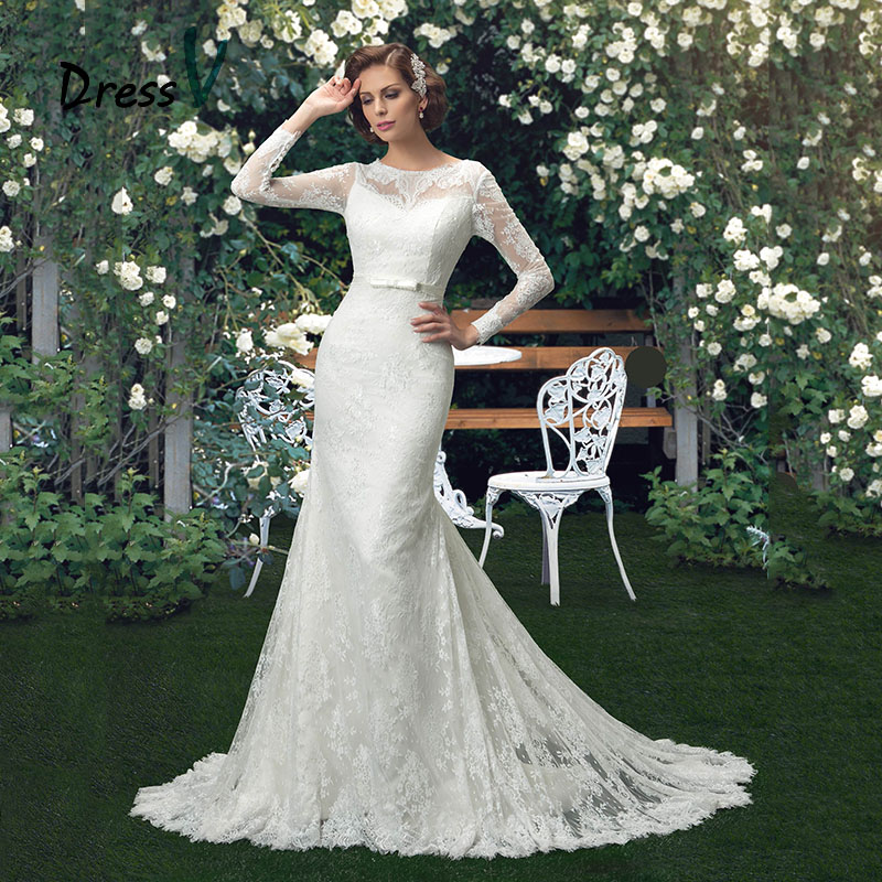 547f720c285b9 DressV White Vintage Mermaid Lace Wedding Dresses Trumpet Scoop Neck Long  Sleeves Belt Court Train Button Back Bridal Gowns