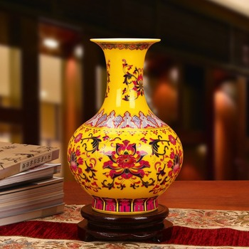 Jingdezhen ceramic vase enamel yellow lotus vase vase modern Home Furnishing decoration decoration