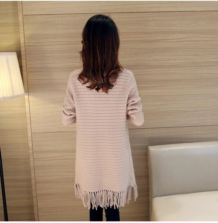 3XL Knit Female Cardigan New 2018 Autumn Fashion Tassels Woman Long Cardigan Coat Pocket V Neck Sweater Coat For Women 2