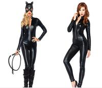 M XXL Hot Selling Sexy Black Latex PVC Bodysuit Catwoman Faux Leather Catsuit Erotic Wet Look Bodycon Fetish Jumpsuit Costume