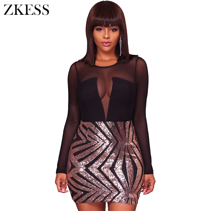 Zkess Women Sheer Lace Mesh Sequin Dress Long Sleeve O Neck Back Zipper  Sexy Club Party a1a7f3575e58