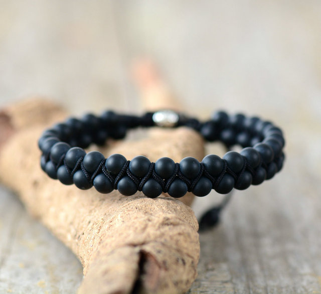 Men Bracelet Matte Onyx Black Cord Steampunk Handmade Friendship Bracelets Mens Beads Jewelry