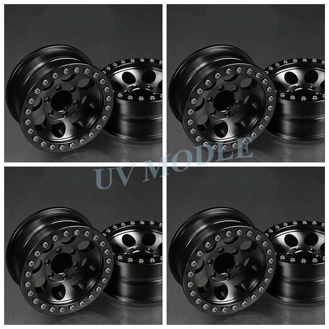 4 Pcs/lot Black Alloy 1/10 RC Crawler 1.9 Beadlock Wheels  for SCX10 D90 90034 90035 Aluminum Rim Free Shipping