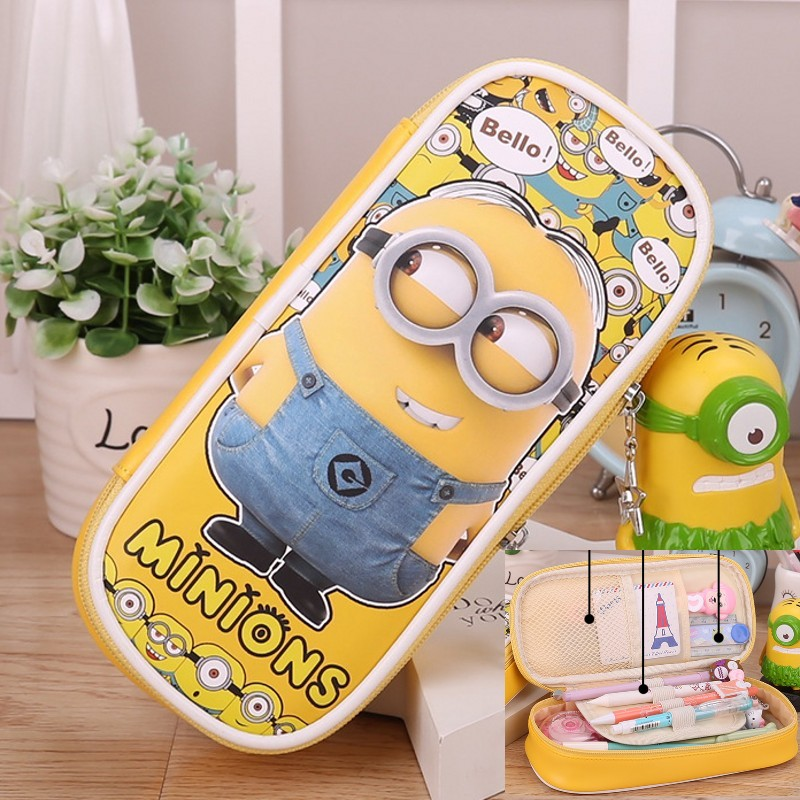 PU-läder Cartoon Pencil Case Big Capacity Pen Bag Boxes Pojkar Flickor Skolmaterial Multifunktionspapper Escolar Papelaria