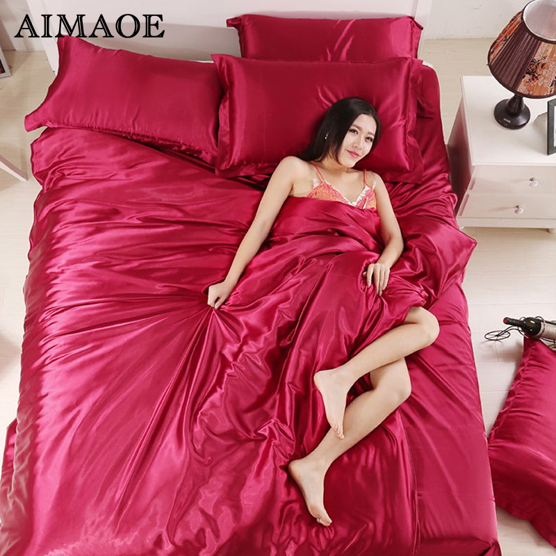 100 Pure Satin Silk Bedding Set Set Sheet King Queen Size