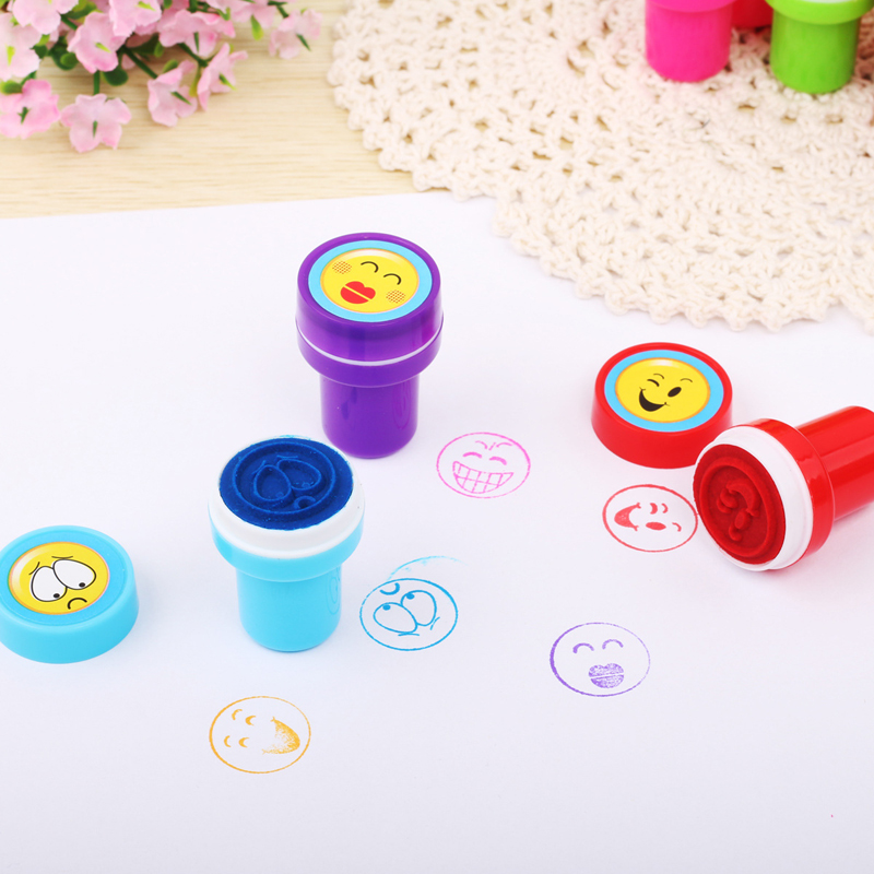 12pcs/Lot Cartoon Stamp Kids Stamp Fruit Smilig Children Custom Plastic Rubber Self Inking Stampers Toys For Kid Drop Free Ship